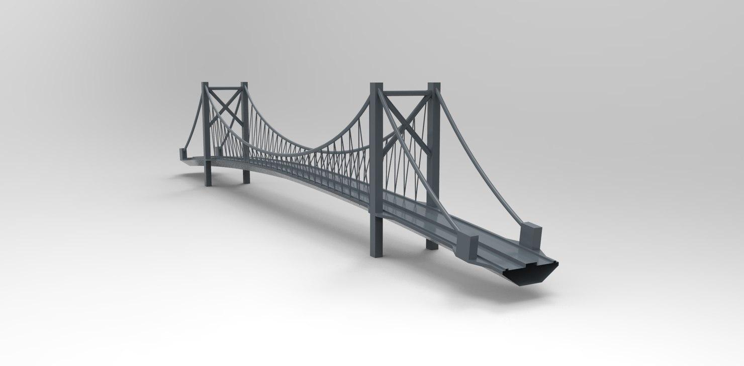 obj curved suspension bridge