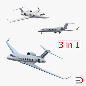 3d gulfstream business jets rigged model
