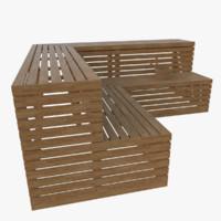 3d model sauna bench