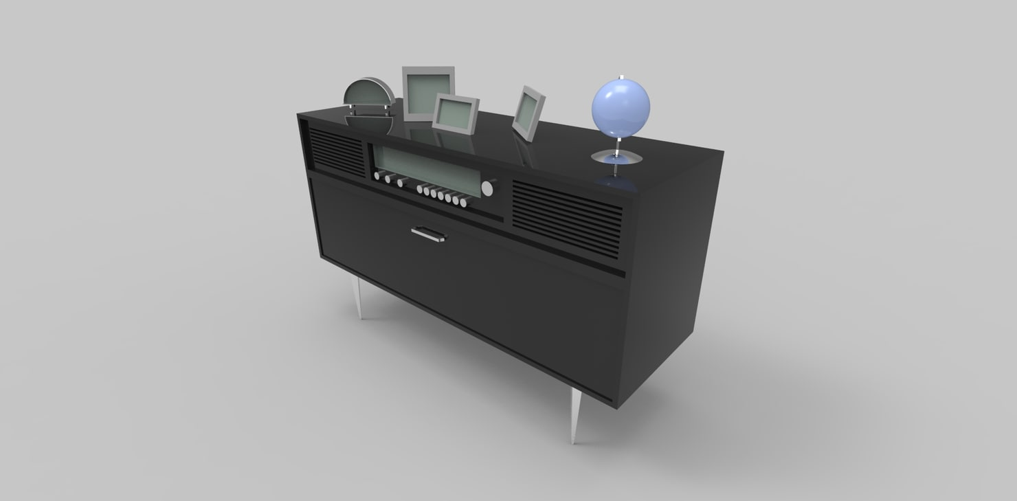 vintage radio table 3d model