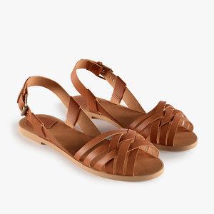 leather sandals 3d obj