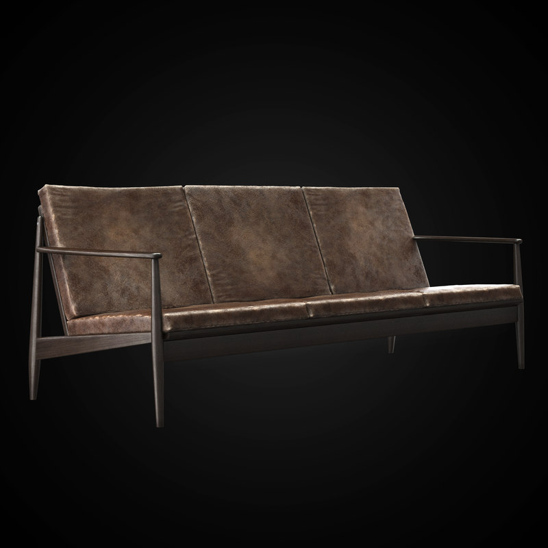 1960 danish sofa modeled 3d model