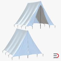 3d vintage camping tent set model