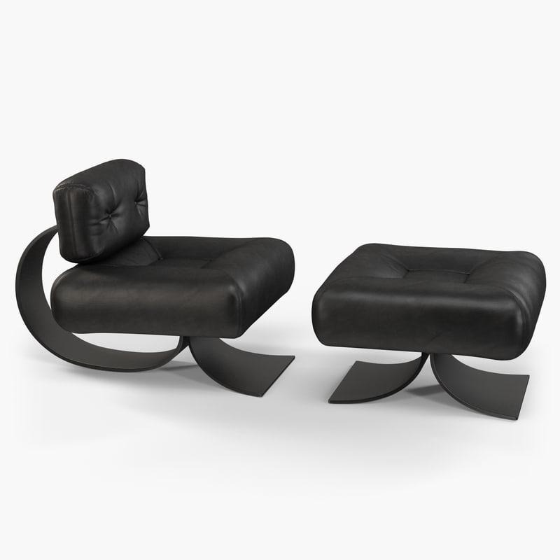 niemeyer alta club chair 3d model