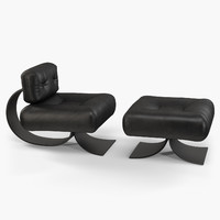 Oscar Niemeyer Alta chair and ottoman