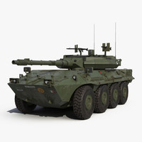 Wheeled Tank Destroyer B1 Centauro Rigged