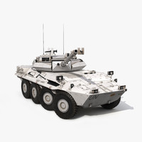 Wheeled Tank Destroyer B1 Centauro Rigged White 3D Model