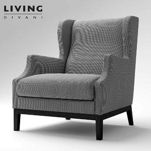3d divan chauffeuse living model
