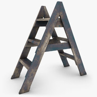 3ds realistic antique ladder 02