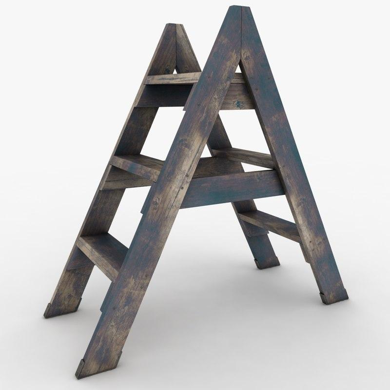 3ds realistic antique ladder 02