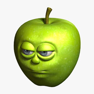 apple cartoon 4 3d obj
