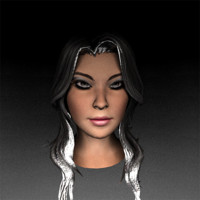 3d model female hairs eyes