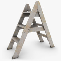 realistic antique ladder 02 3d 3ds