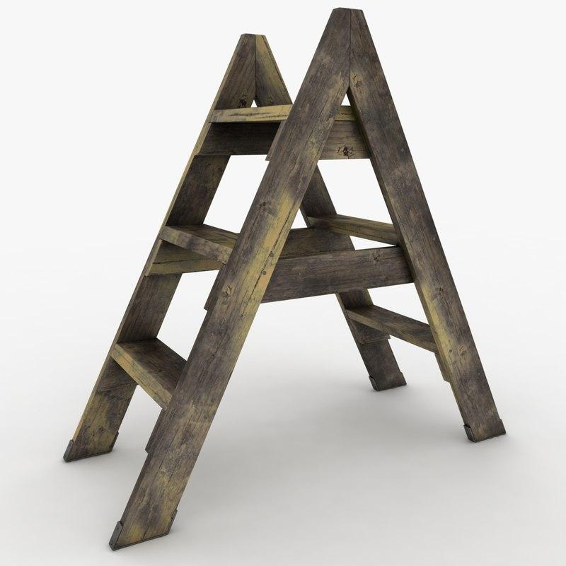realistic antique ladder 02 3d max