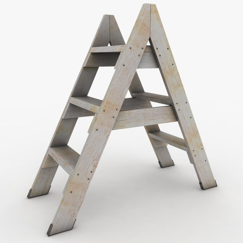 realistic antique ladder 02 3d 3ds