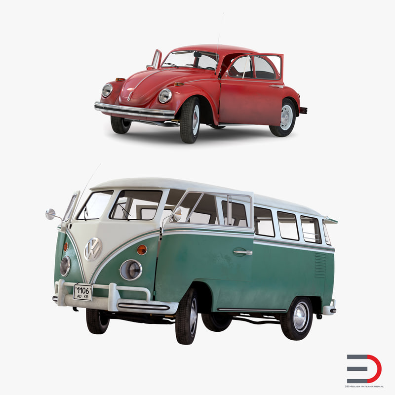 3d retro volkswagen cars rigged model