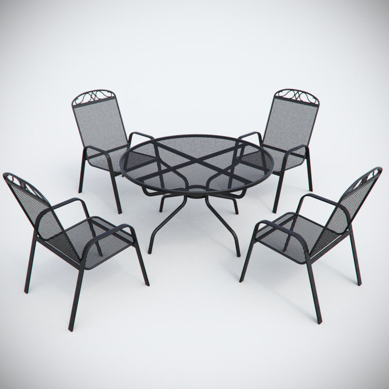 3d model garden metal chair table furniture