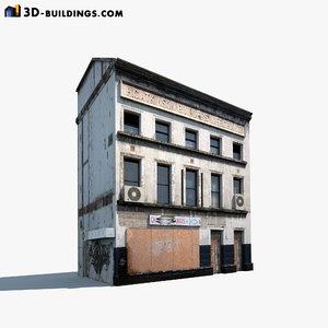 3d derelict building exterior model