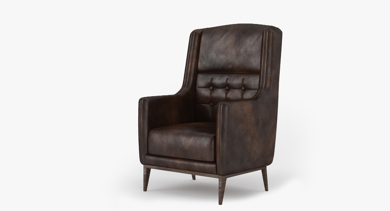 vintage leather armchair 3d max