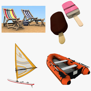 3d summertime beach chair