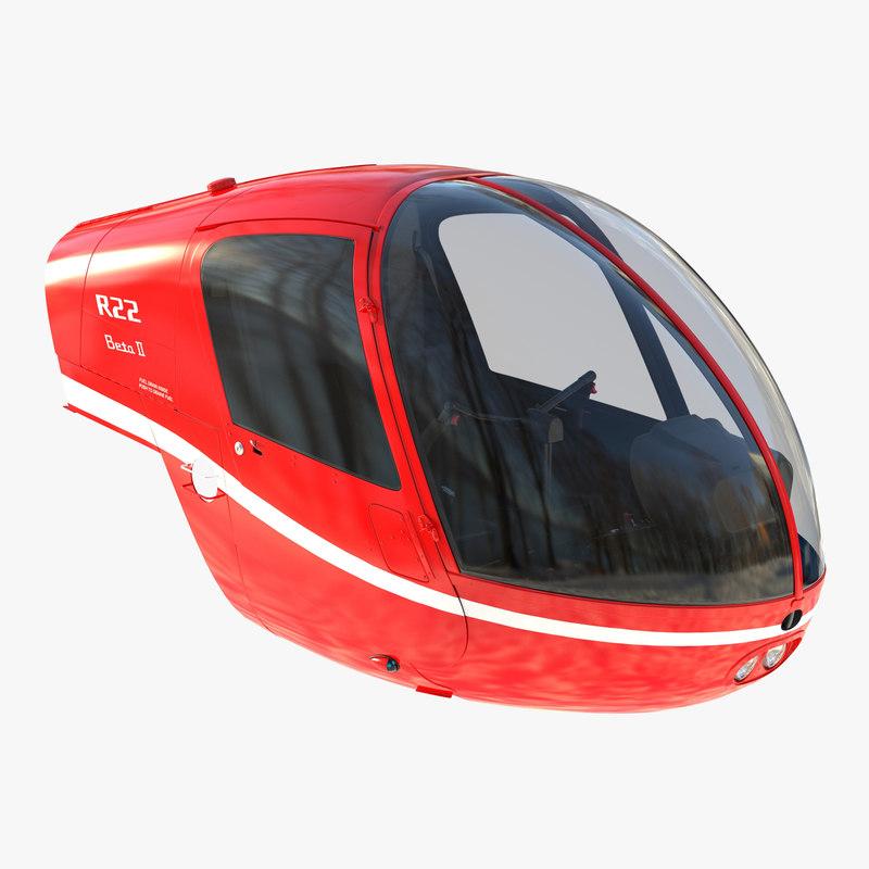 3d model light helicopter cockpit