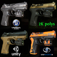 12 Low Poly Game Ready PBR Beretta PX4 Handguns