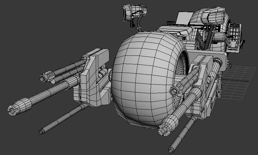 batpod bike cannons 3d model