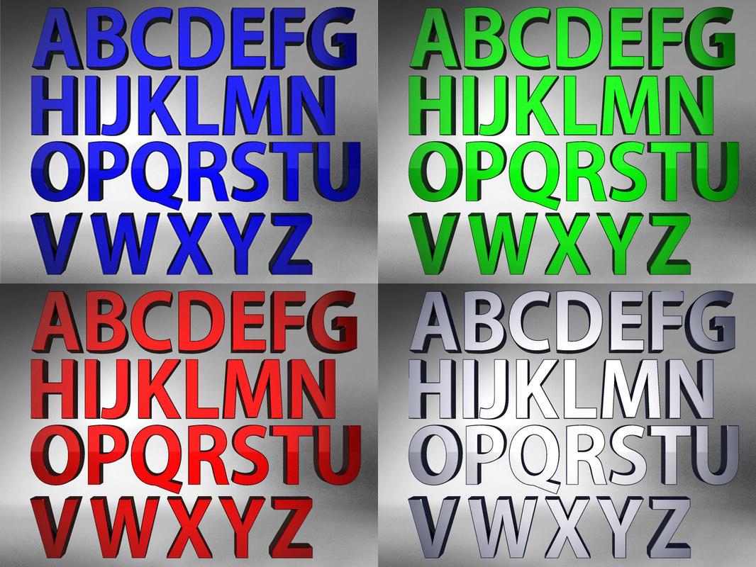 3d model alphabet light scene colour