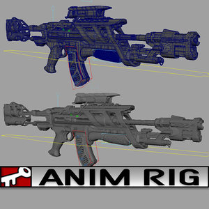 3d rifle scifi rigged model