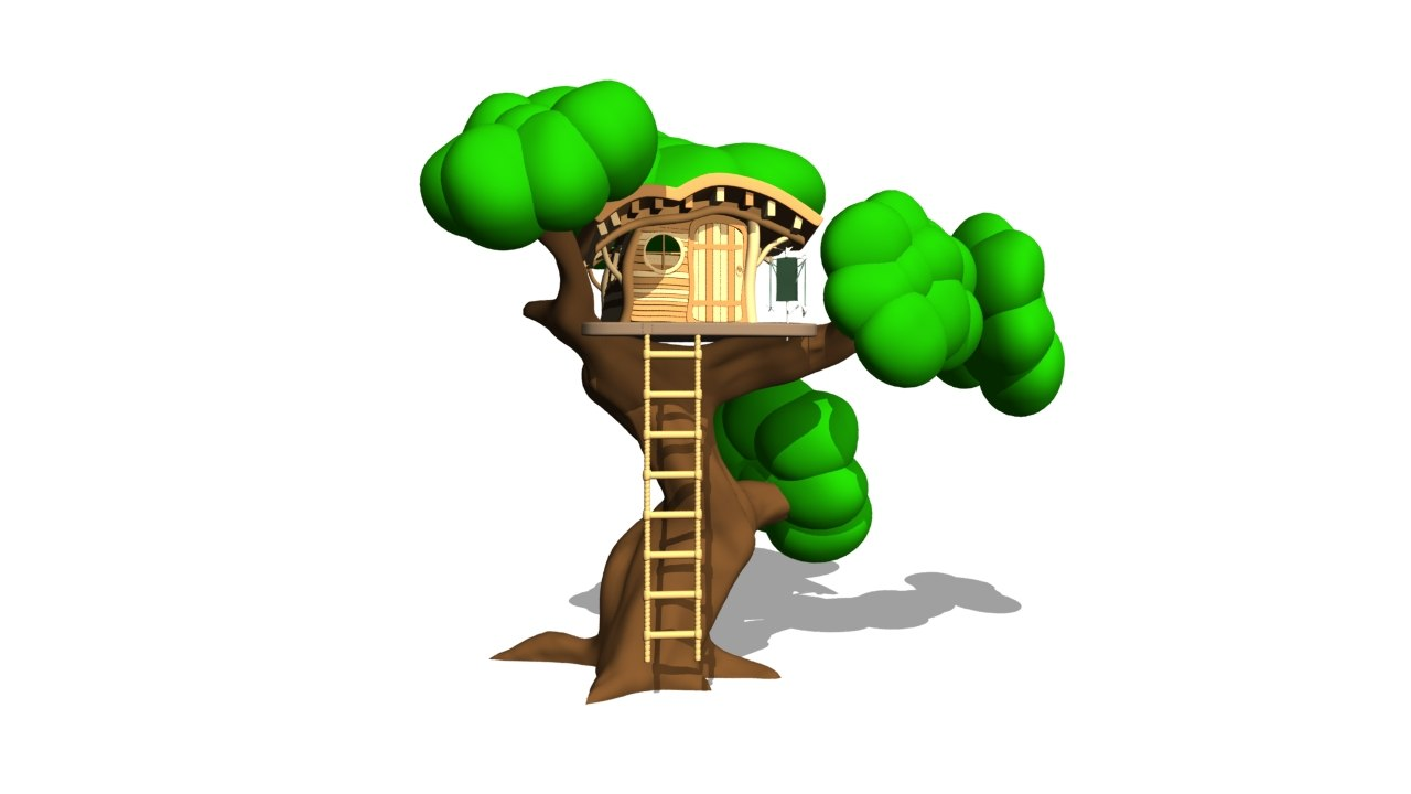 cartoon house tree 3d obj