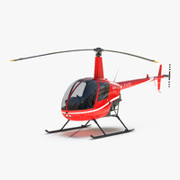3d model helicopter robinson r22 red