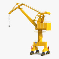 Level Luffing Port Crane Yellow