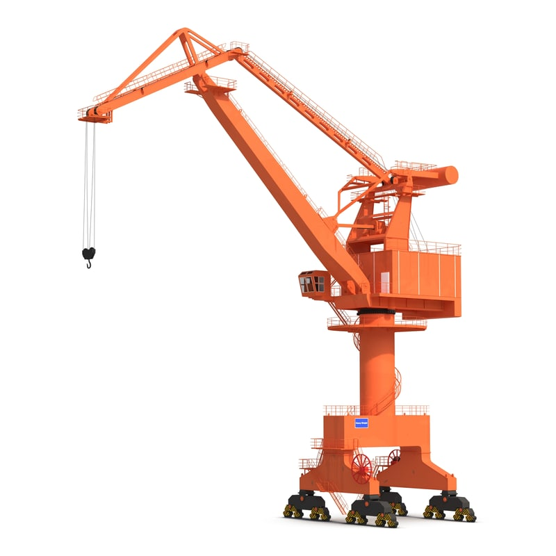 level luffing port crane obj