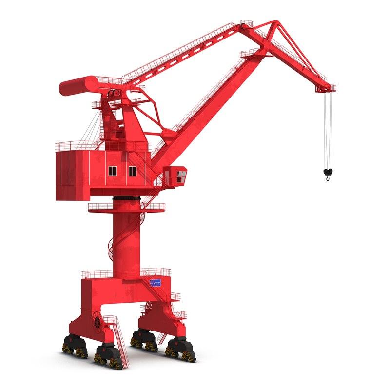level luffing port crane 3ds