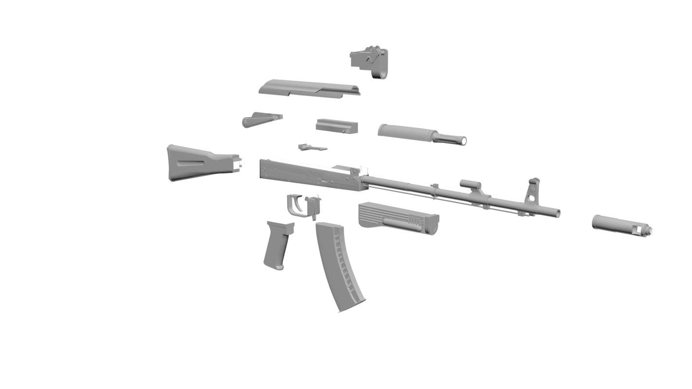 3d model ak-74 ak-74m ak