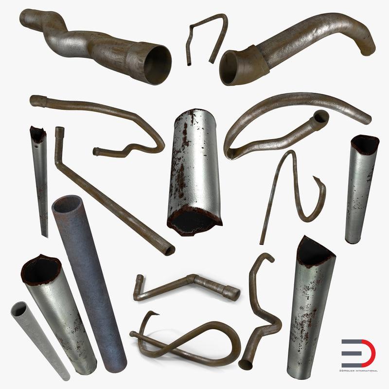 broken iron pipes 3d model