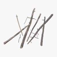 3d fallen logs pine 02 model