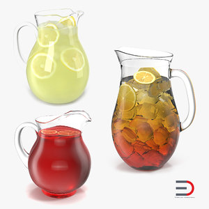pitchers set fruit 3d 3ds