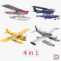 seaplanes 2 piper cessna 150 3d model