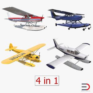 seaplanes 2 piper cessna 150 3d model