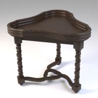 triangular table wood 3d model