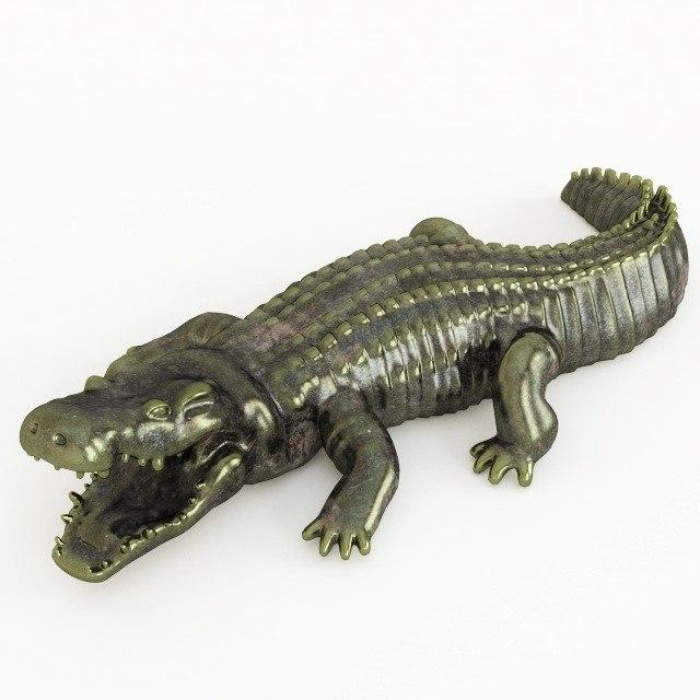 free crocodile statuette 3d model