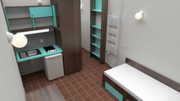 3d model student apartment bedroom