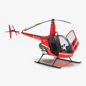 3d helicopter robinson r22 rigged model