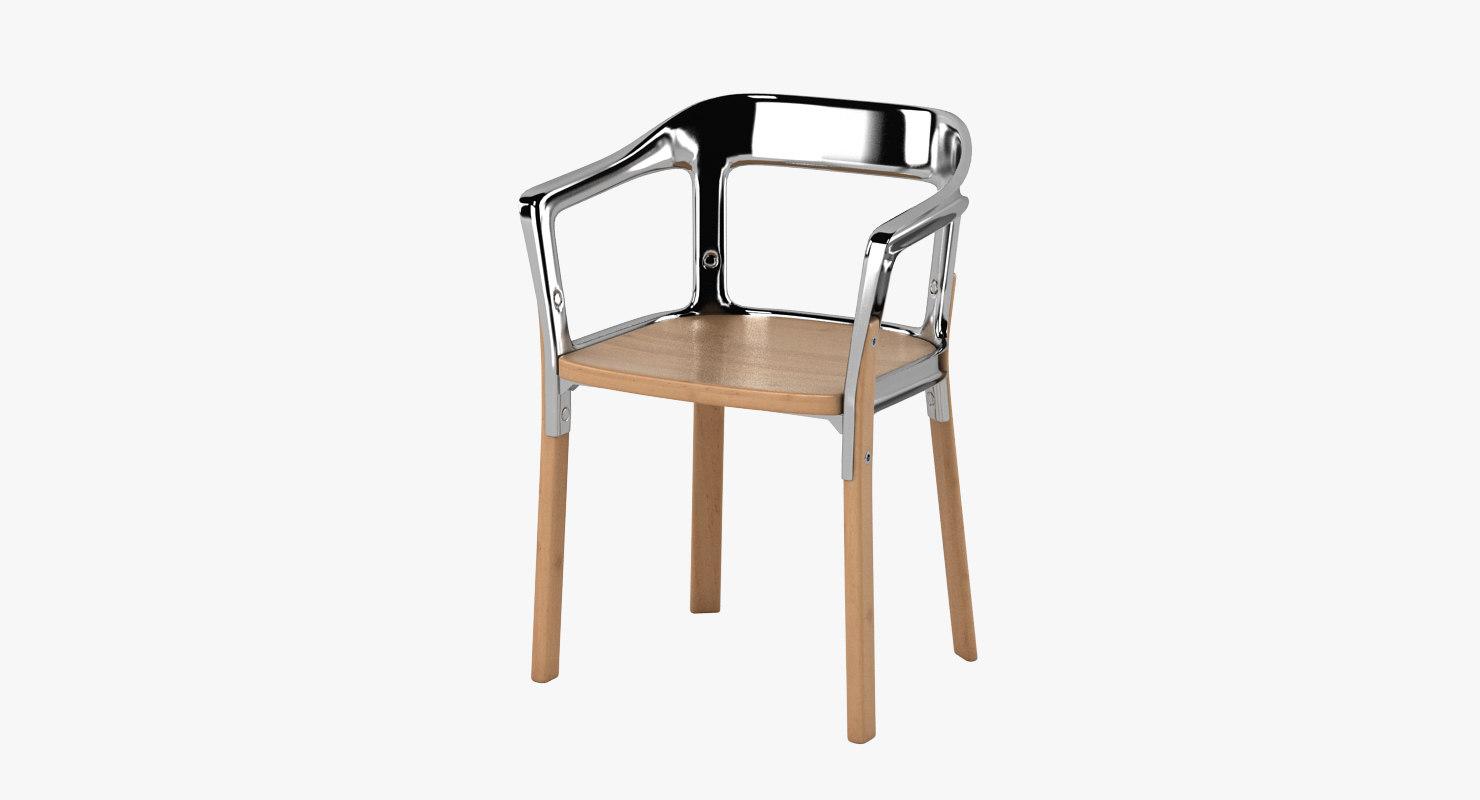 magis steelwood chair 3d max
