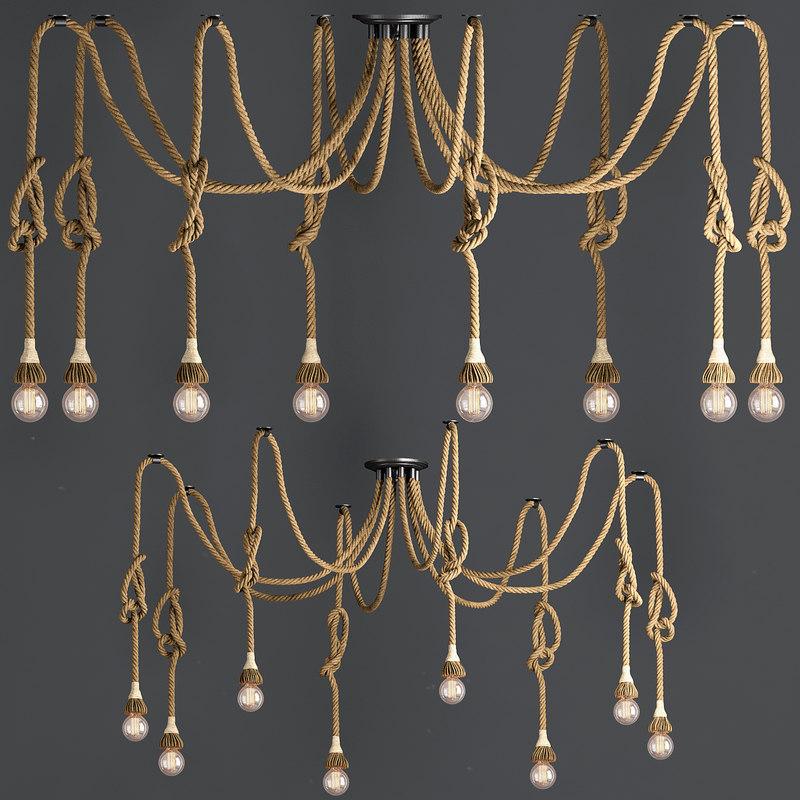 3d chandelier loft rope