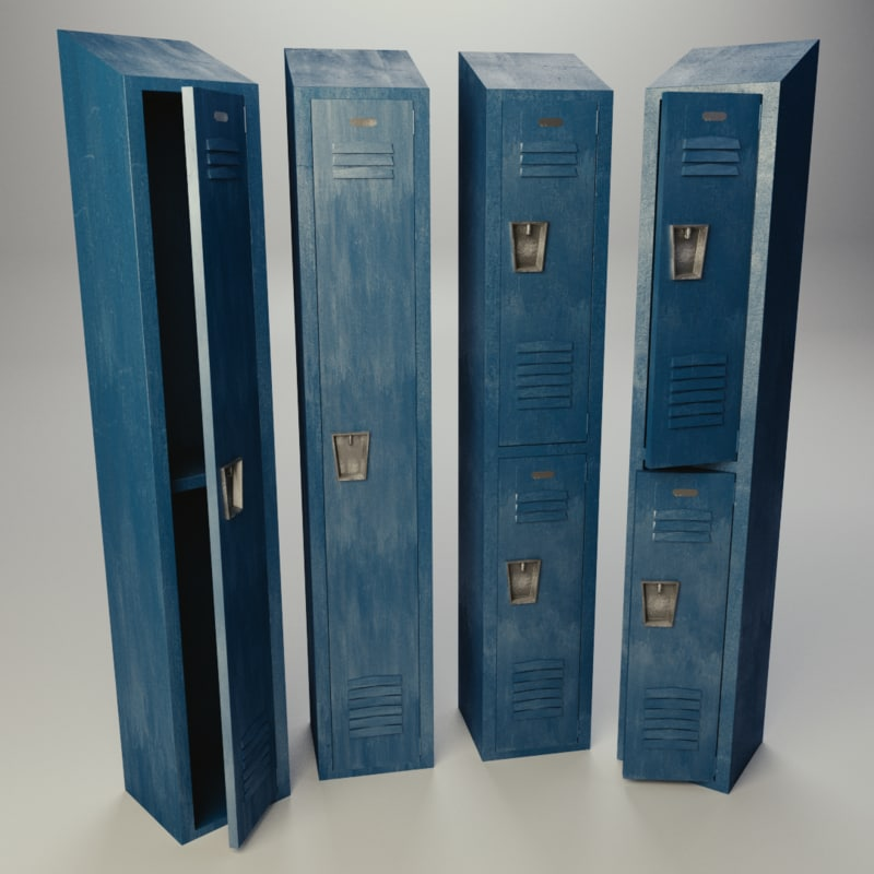 tall locker old 3d model