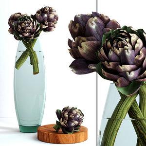 vase burgundy artichokes flowers plants 3d model
