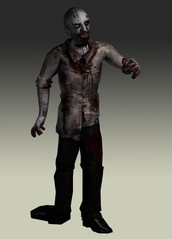 3d model zombie character rigged