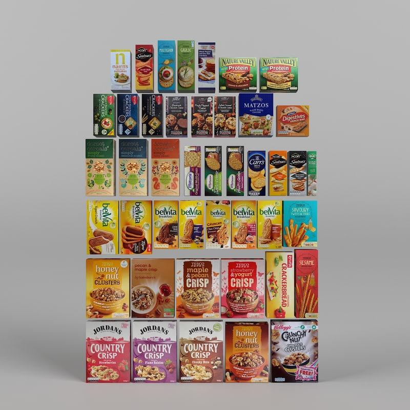crackers biscuits snack 3d model